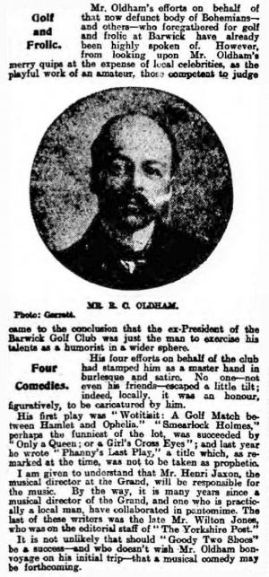 Article about R. C. Oldham in The Yorkshire Evening Post (7 june 1913)